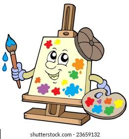 Cartoon canvas artist - vector illustration.