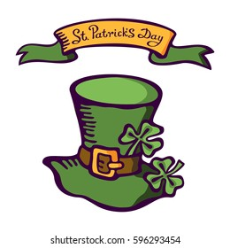 Cartoon cap of a leprechaun with lettering: St. Patrick's Day. Vector images for your business and design. For postcards, cartoons, wallpapers, games, linen and clothing