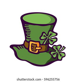 Cartoon cap of a leprechaun. St. Patrick's Day. Vector images for your business and design. For postcards, cartoons, wallpapers, games, linen and clothing