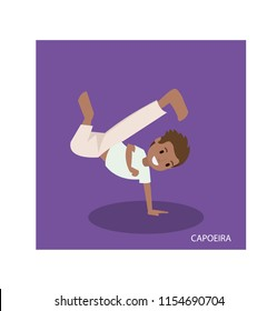 Cartoon of capoeira martial arts with standing hand poses