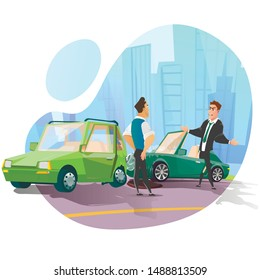 Cartoon Car Accident on City Road. Two Flat Vehicle Collided with Body Damage. Angry Driver in Suit Shouting on Owner other Automobile. Crashed Transport Incident. Vector Cutout Illustration
