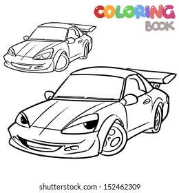 cartoon car character coloring book