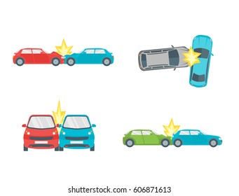 Cartoon Car Crash Road Accident Set Insurance Web Concept Flat Design Style. Vector illustration