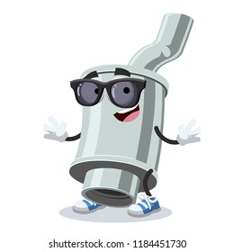 cartoon car exhaust pipe with silencer character mascot in black sunglasses on a white background