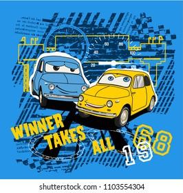 Cartoon car illustration for boy's wear