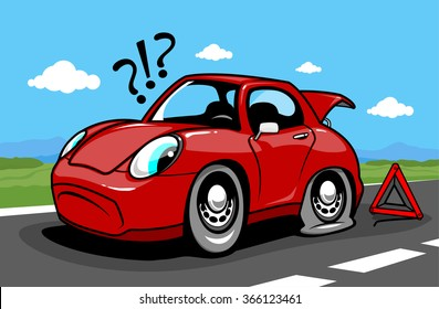 Cartoon car on the road with a flat tire. Vector illustration