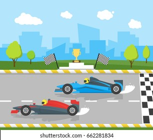 Cartoon Car Racing Sport, Professional Competition Flat Style Design Starting or Finishing Auto. Vector illustration