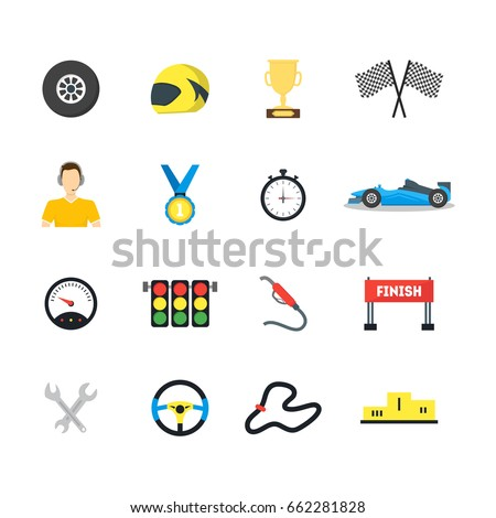 Cartoon Car Racing Symbol Color Icons Stock Vector Royalty Free