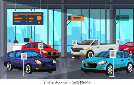 Cartoon car showroom center with autos exhibition inside. Automobile dealership store shop interior. New modern vehicles models demonstration, sale and trading. Vector flat illustration