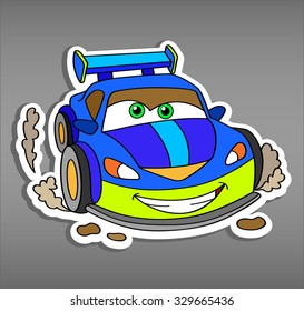 Cartoon car sticker for boys.Vector illustration of doodle car for scrapbook.Transportation Doodle Background. Funny smile car in paper cut style. Comic character for textile