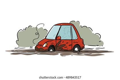 Cartoon car stuck in mud
