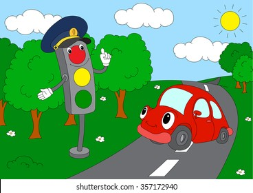 Cartoon car with traffic lights. Coloring book