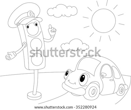car indicator lights coloring pages | Cartoon Car Traffic Lights Coloring Book Stock Vector ...