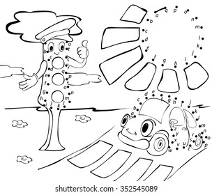 Cartoon car, traffic lights and sun. Vector illustration. Coloring and dot to dot educational game for kids