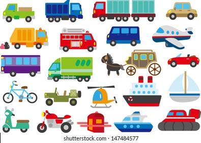 cartoon car, truck, submarine, ship, plane