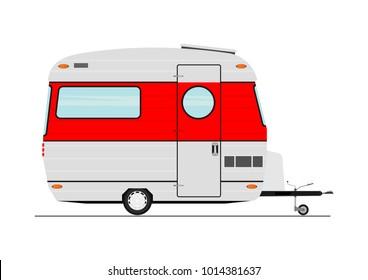 Cartoon caravan. Side view. Flat vector.