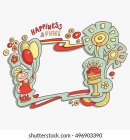 cartoon card happy birthday, happiness and fun