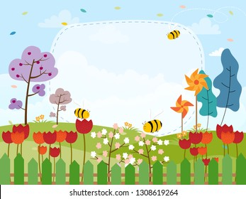 Cartoon card for spring season of flowers field and honey bee flying with copyy space, Cute illustration Summer creative frame background, Template for your text. Nature landscape on spring or sommer