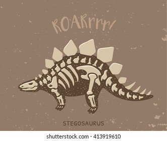 Cartoon card with a stegosaurus skeleton and text Roar. Fossil of a Stegosaurus dinosaur skeleton. Cute dinosaur on brown background