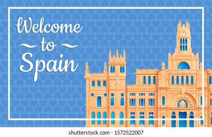 Cartoon card welcome to spain, vector illustration