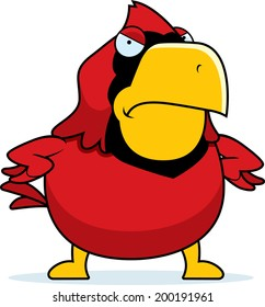 A cartoon cardinal with an angry expression.