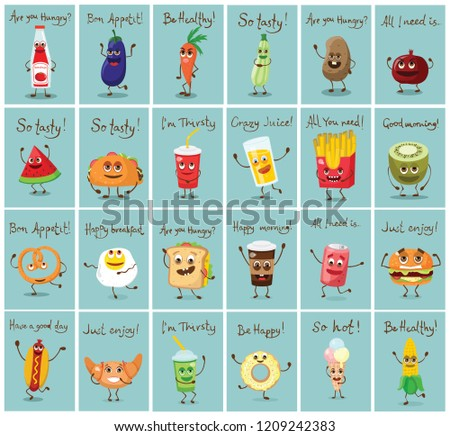 Cartoon Cards Funny Fast Healthy Food Stock Vector Royalty Free