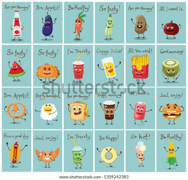 Cartoon Cards Funny Fast Healthy Food Royalty Free Stock Image