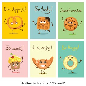 Cartoon cards with funny food bakery characters -  waffle, pretzel, croissant, cookie, donut, cupcake with emotions