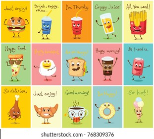 Cartoon cards with funny food characters vector illustrations- cupcake, donut, croissant, cup of tea and coffee, scrambled eggs, hamburger, glass of juice and french fries with emotions