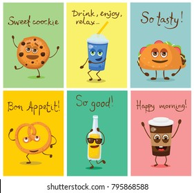 Cartoon cards with funny friends fast food - can of soda, cookie, fresh and pretzel, lemonade and taco