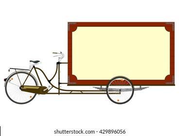 Cartoon cargo bike or rickshaw on a white background. Flat vector