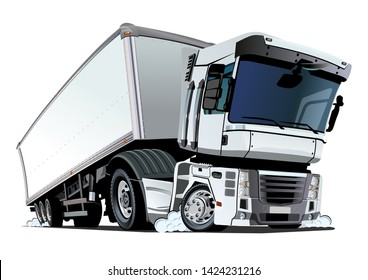 Cartoon cargo semi truck. Available EPS-10 vector format separated by groups and layers with transparency effects for one-click repaint