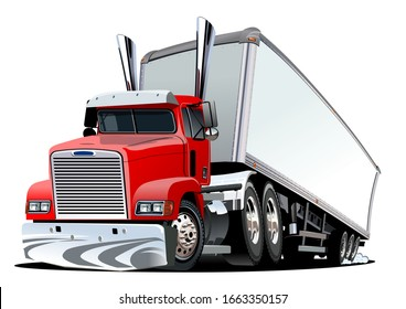 Cartoon cargo semi truck. Available EPS-10 vector format separated by groups and layers with transparency effects for one-click recolour