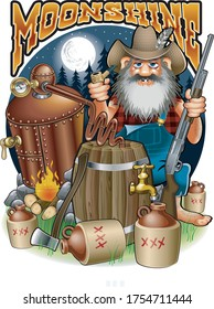 cartoon caricature of hillbilly with shotgun, corn pipe and moonshine distillery