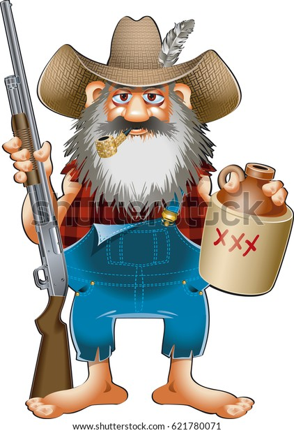 cartoon caricature of hillbilly with shotgun and whiskey jug