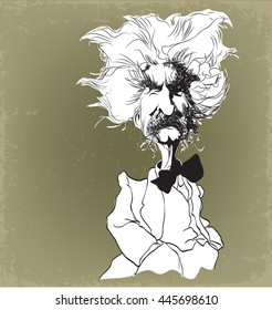 Cartoon caricature Mark Twain illustration
