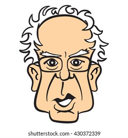 Cartoon caricature portrait of Bernie Sanders