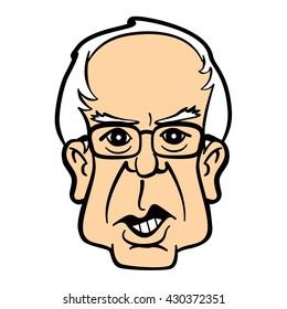 Cartoon caricature portrait of Bernie Sanders