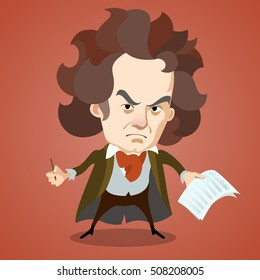 Cartoon caricature portrait of Ludwig van Beethoven