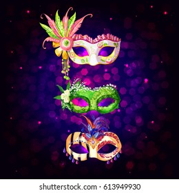 Cartoon carnival masks collection with flowers feathers and jewels on hexagonal background isolated vector illustration