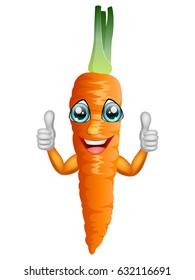 Cartoon carrot giving thumbs up. Vector illustration