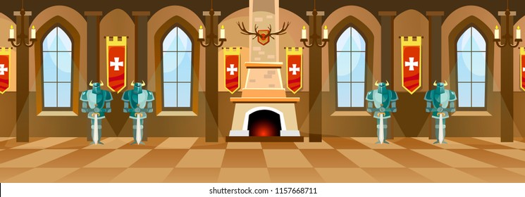 Cartoon castle background with fireplace, knights and empty hall. Vector illustration.