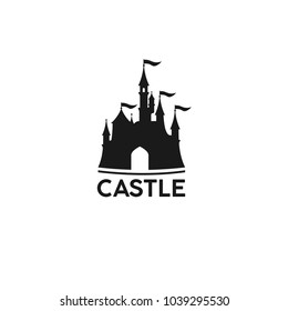 Cartoon castle logo, banner. Amazing amusement park. Vector illustration.