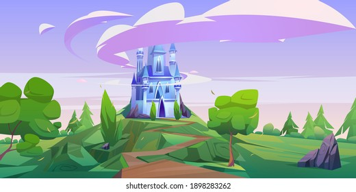 Cartoon castle, magic fairy tale palace with turrets. Fantasy fortress stand on mountain top with rocky road lead to gates and lilac clouds in sky, medieval architecture, dream, vector illustration