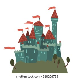 Cartoon Castle on a Hill flat icon. The vector illustration of cartoon castle on a hill for ui, web games, tablets, wallpapers, and patterns.