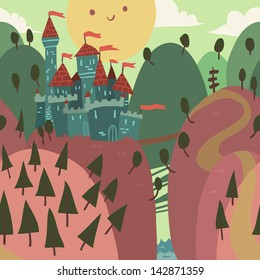 Cartoon Castle on a Hill. The vector illustration of cartoon castle on a hill.