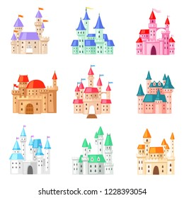 Cartoon castle vector fairytale medieval tower of fantasy palace building in kingdom fairyland illustration childish set of princess fairy-tale house isolated on white background
