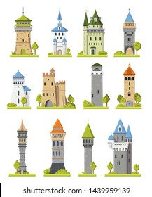 Cartoon castle vector fairytale medieval tower of fantasy palace building in kingdom fairyland illustration towering set of historical fairy-tale towered house isolated on white background