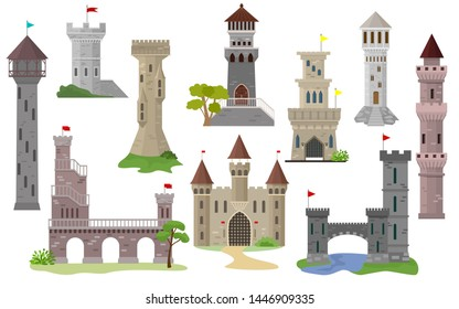 Cartoon castle vector fairytale medieval tower of fantasy palace building in kingdom fairyland illustration set of historical fairy-tale house isolated on white background