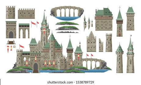 Cartoon castle vector fairytale medieval tower of fantasy palace building in kingdom fairyland illustration. Set of historical fairy-tale house bastion constructor isolated on white background.